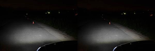 Освещение дорожного полотна, обочины и пешехода в жилете со светооражающими элементами на расстоянии 30 и 40 метров от автомобиля. Светодиодные лампы установленные в штатную оптику.