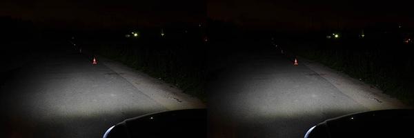 Освещение дорожного полотна, обочины и пешехода в жилете со светооражающими элементами на расстоянии 10 и 20 метров от автомобиля. Светодиодные лампы установленные в штатную оптику.