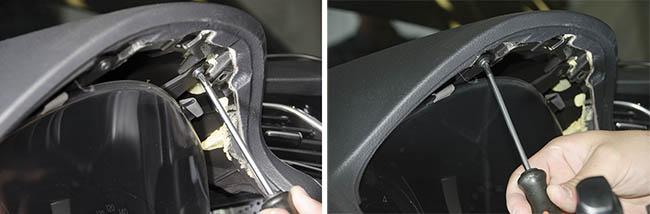 Приборная панель Hyundai i40 крепится на двух саморезах.