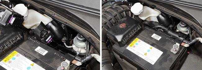 За аккумулятором на дизельном Hyundai i40 есть штатные болты, на которые и будет установлена сирена