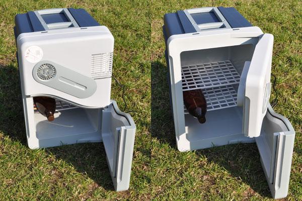 Меньшая часть раздельной крышки,  фиксирует большую. При необходимости можно открыть холодильник Mobiсool W40 целиком.