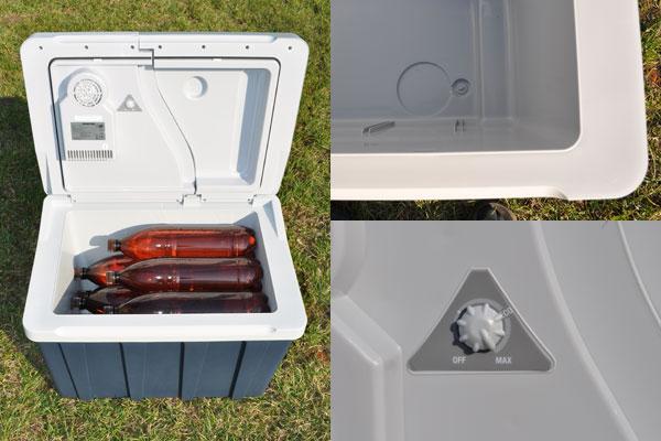 9 двухлитровых бутылок располагается в камере лежа это хороший показатель вместимости. В дне холодильной камеры есть отверстие для слива конденсата. Также холодильник оборудован регулятором  мощности.