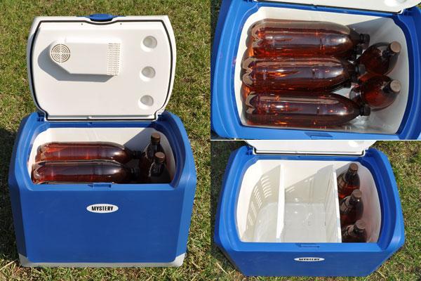 Термоэлемент расположен на крышке. Выштамповка позволяет поставить внутрь вертикально три двухлитровых бутылки. Максимальная загрузка холодильника Mystery MTС-401 — 8 бутылок. И лишь две из них стоят. Хороший показатель.