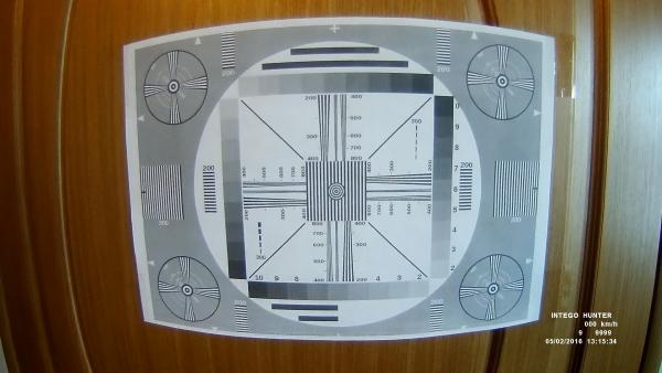 Запись испытательной таблицы, сделанная автомобильным Full HD видеорегистратором совмещенным с радар-детектором Intego Hunter.