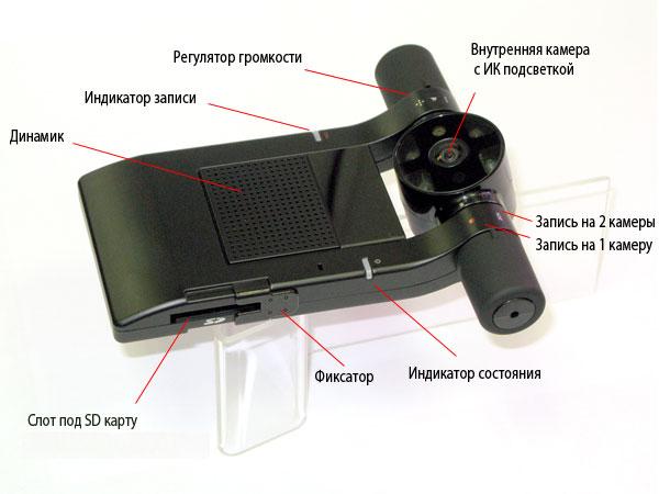Основные органы управления и индикации видеорегистратора PHANTOM VR-120