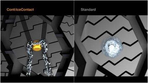 Шип Continental ContiIceContact имеет сложный трапециевидный профиль, а в протекторе предусмотрены канавки для отвода ледяной крошки.