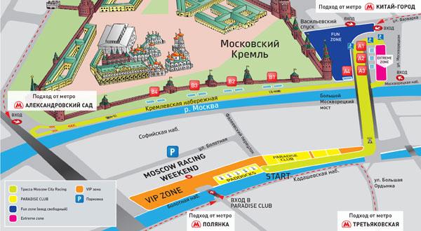 Схема трассы гонок Moscow City
