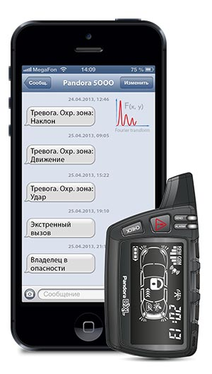 На экране смартфона отражается информации о срабатывании акселерометра охранной системы Pandora 5000New