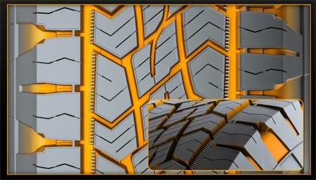 Для повышения тяговитости шины Continental CrossContact ATR на бездорожье рисунок протектора сделан таким образом, чтобы канавки располагались под углом к направлению движения дороги обеспечивая повышенные сцепные свойства с бездорожьем.