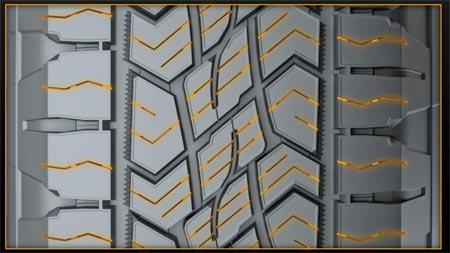 На опорных площадках протектора шины CrossContact ATR имеется внутренне ламелировани Прорези не выходят в основные водоотводные канавки и тем самым не снижают жесткости протектора, при этом при движении на мокрых дорогах с твердым покрытием, они снимают водный слой, повышая тормозные свойства протектора.