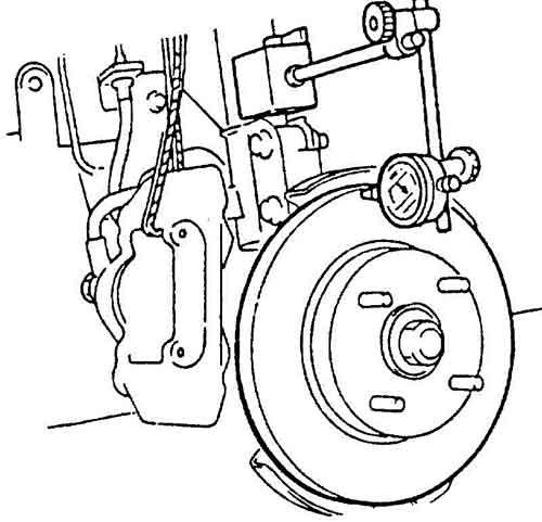 Одна из процедур диагностики – измерение биения тормозного диска.