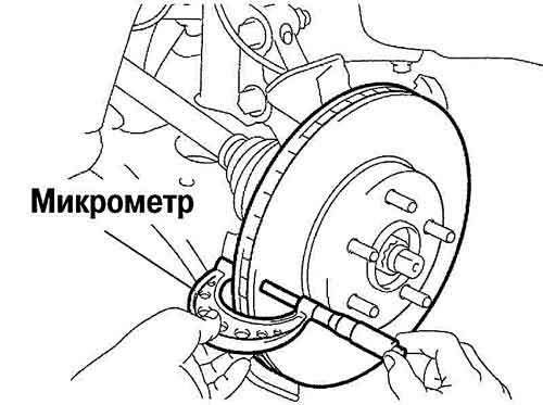 Толщину тормозного диска измеряют микрометром.