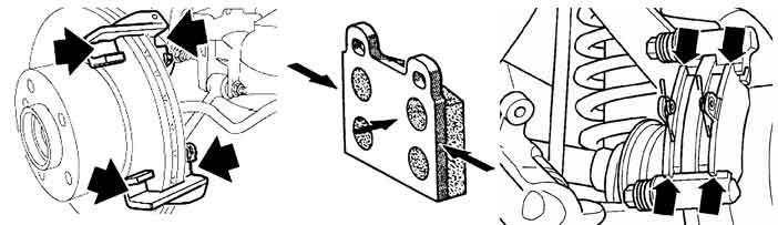 Чтобы исключить скрип тормозных колодок, рекомендуется обработать указанные точки синтетической смазкой для тормозной системы – спреем Liqui Moly Bremsen-Anti-Quietsch-Spray.