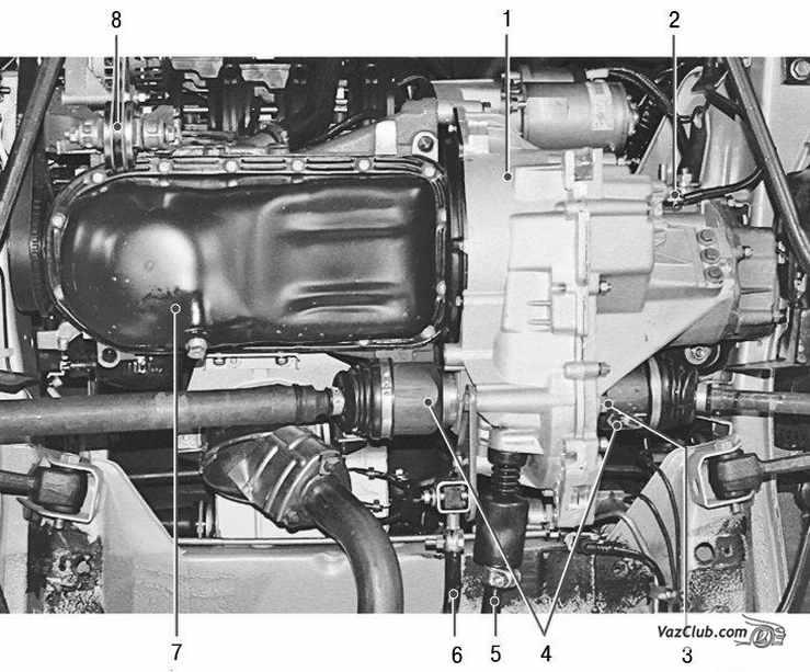 Расположение коробки передач лада приора на автомобиле (вид снизу): 1 - коробка передач; 2 - выключатель света...