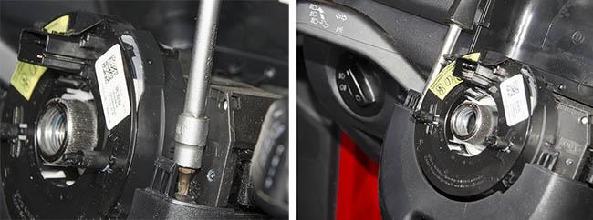 Демонтаж накладок рулевого вала на Skoda Fabia