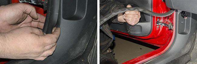 Демонтаж накладки левой накладки порога Skoda Fabia