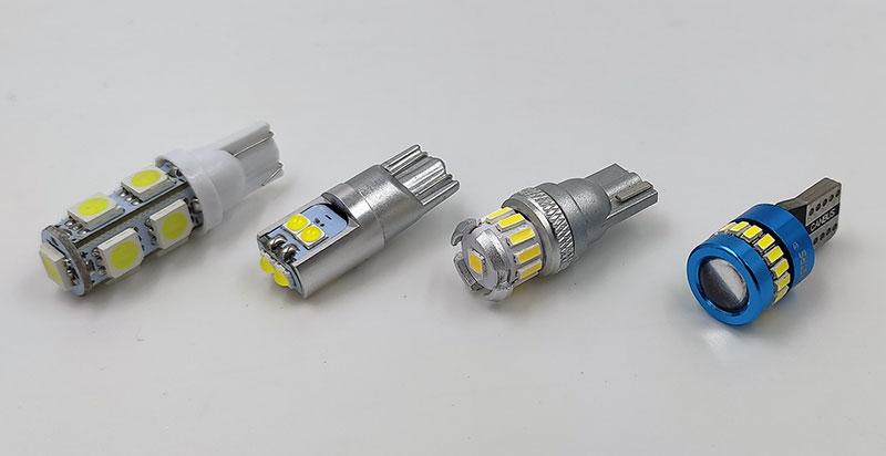 Сравнение четырех автомобильных светодиодных ламп T10